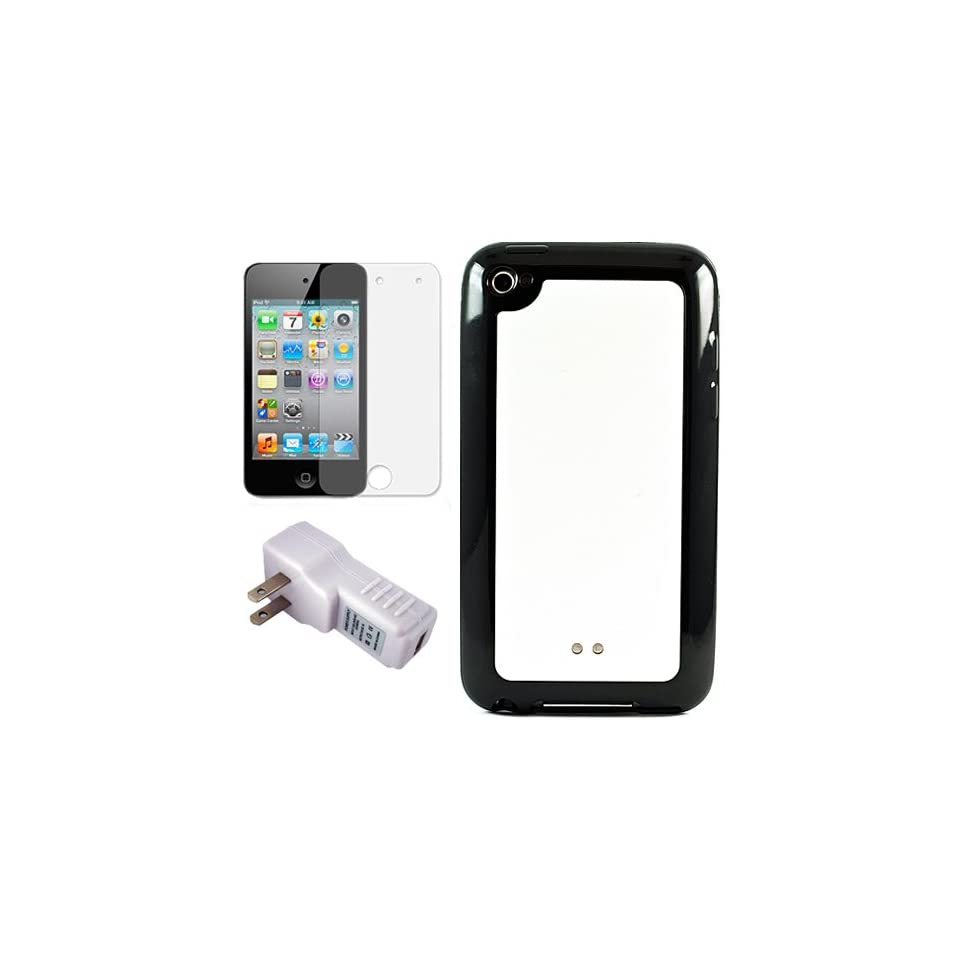 Black with White Premium Rubberized Hard Crystal TPU Silicone Skin Cover Case for Apple iPod Touch 4th Generation (8GB, 16GB, 32GB, 64GB) + Clear Screen Protector for iPod Touch 4th Generation LCD Display Screen + USB Travel Wall Charger with LED Power Ind