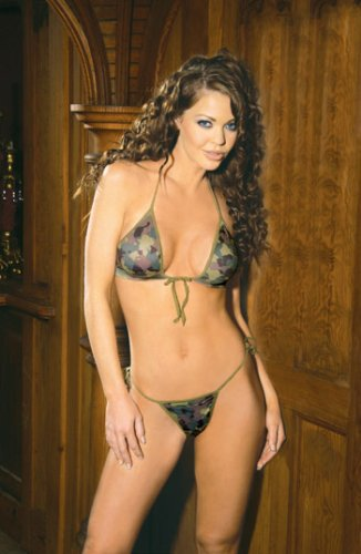 Camouflage Print String Bra Top and Matching Tie Side G-String