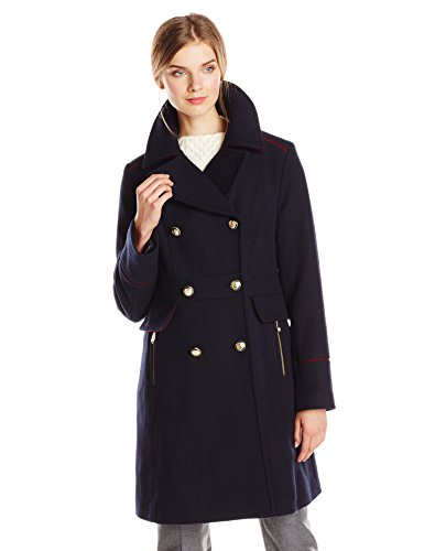 Vince Camuto Women's Double Breasted Military Wool Coat, Navy, Large