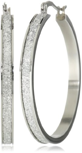 Stainless Steel with Glitter Hoop Earrings (40mm Diameter)