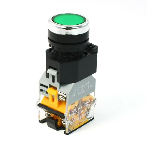 Ui380V Ith10A Green Led Light Momentary Push Button Switch 22Mm 1 No 1 Nc