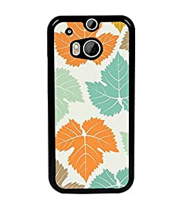 PrintDhaba Leaves Design D-1444 Back Case Cover for HTC ONE M8 EYE (Multi-Coloured)