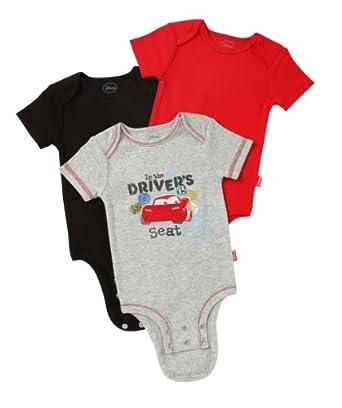 Disney Cuddly Bodysuit -  Fashion 3 Pack:  Disney / Pixar CARS Driver Seat, Heather/Red/Black, 0-3 Months
