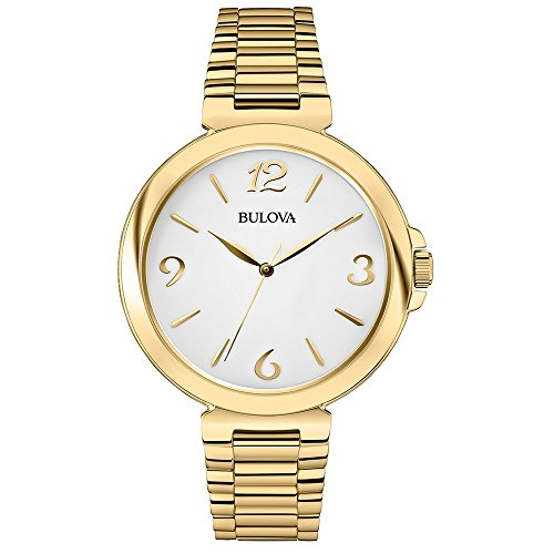 Bulova Classic Dress Women's Quartz Watch with Silver Dial Analogue Display and Gold Ion-Plated Bracelet 97L139