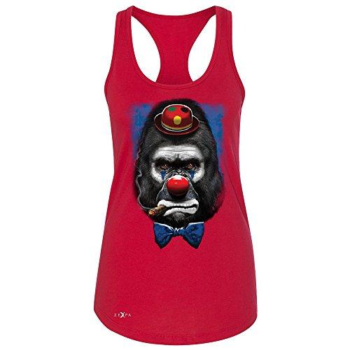Gorilla Clown Sad Scary Women's Racerback Halloween Costume Event Sleeveless Red XX-Large