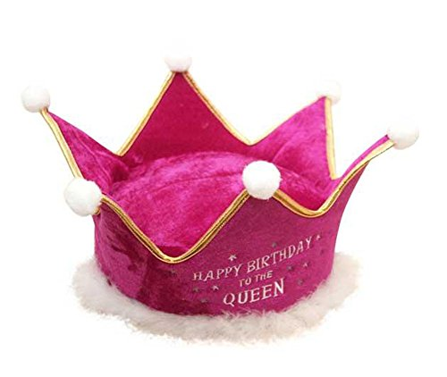 Adult Happy Birthday To The Queen Pink Plush Party Crown Hat
