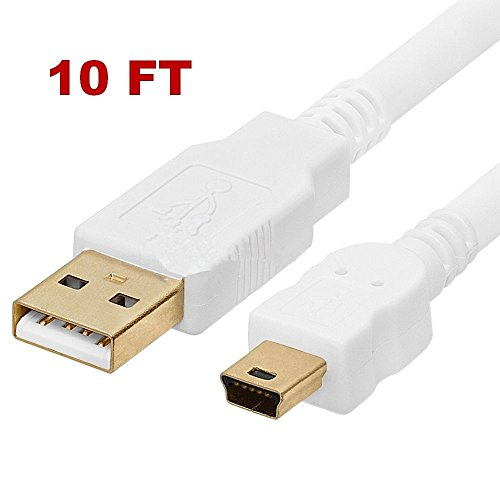 white-10ft-20-usb-cable-type-a-to-mini-b-male-to-male-5-pin-for-texas-instruments-ti-84-plus-ti-84-p