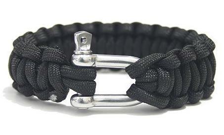 Paracord 550 braccialetto di sopravvivenza con acciaio inossidabile U Grillo-Black [Varie.]