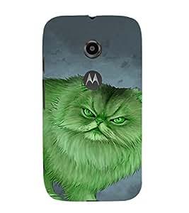 EPICCASE Green Cat Mobile Back Case Cover For Moto E 2nd Generation (Designer Case)