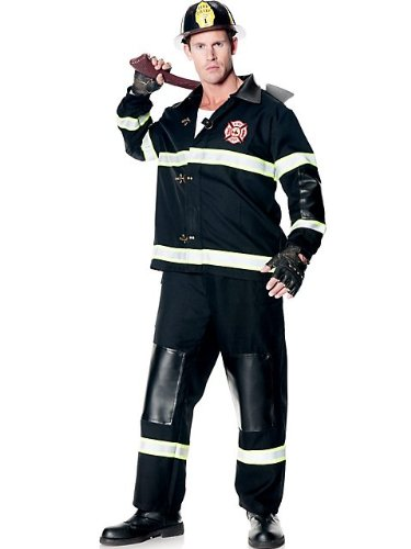 Underwraps Men's Rescuer, Black, One Size (Mens Sexy Firefighter Costume)