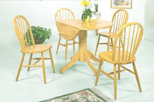 Dining Furniture Set with Drop Leaf Table and 4 Oak Stain Chairs