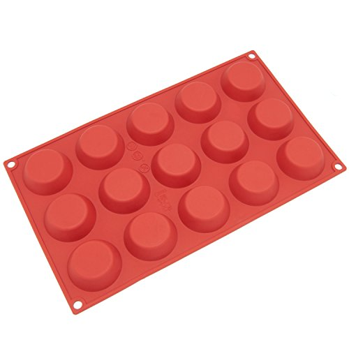 Freshware SM-103RD 15-Cavity Petite Silicone Mold for Homemade Tart, Quiche, Pastry, Cake, Pie, Pudding, Jello, and More