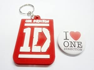 "2x 1.25"" 1D ONE DIRECTION #2 MUSIC Button Badge Pin Pinback brooch & Keychain Key Fob Ring"