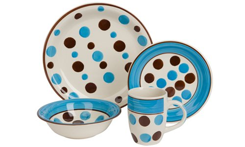 Ethos Dotty Time Ceramic Dinner Set Gift Boxed, 16 Piece, Blue from Ethos