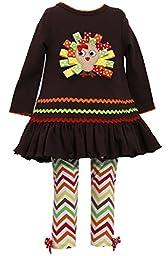 Bonnie Jean Girls Thanksgiving Turkey Dress Outfit , Brown, 4