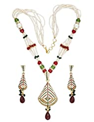 Seasons4 Red Metal Multi-Strand Necklace-Earring Set For Women-NA10A192