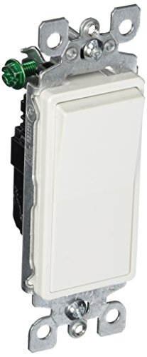 Leviton 5601-2W 15 Amp, 120/277 Volt, Decora Rocker Single-Pole AC Quiet Switch, Residential Grade, Grounding, White