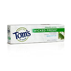 Tom's of Maine Wicked Fresh Long Lasting Fresh Breath Fluoride Toothpaste, Spearmint Ice, 4.7-Ounce (Pack of 2)