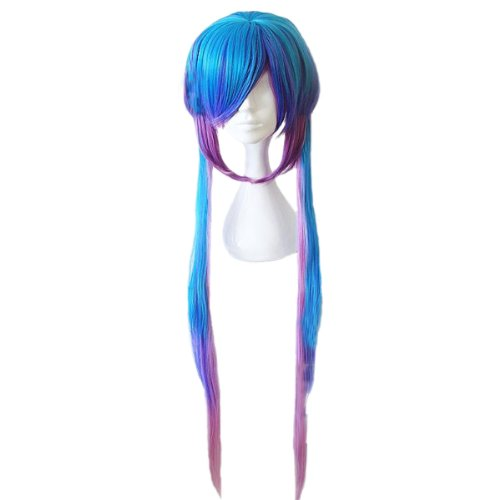 Angelaicos Womens Straight Two Tone Costume Cosplay Wigs Long Gradient Purple Blue