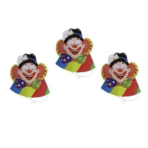 """5 Hütchen """"Clowngesicht"""" Clownmotiv Karnevaldekoration Kindergeburtstag"""