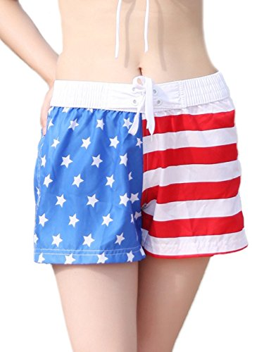 [LaLaMa Womens USA American Flag Boardshorts Swim Trunks L] (Womens Boxing Costumes)