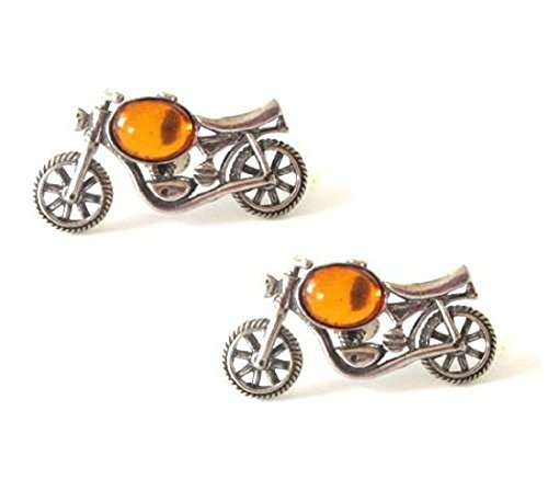 Sterling Silver Amber Motorcycle Stud Earrings