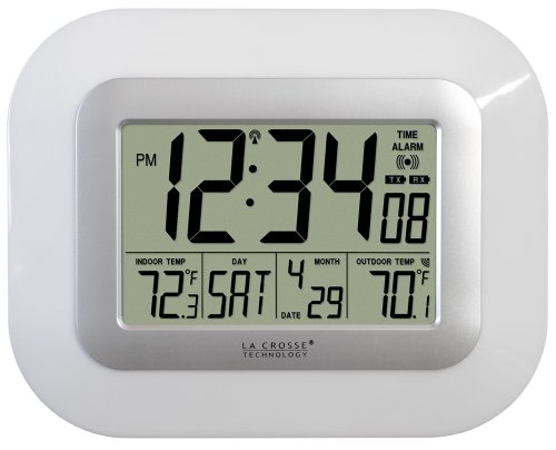La Crosse Technology WS-811561-W atomic digital wall clock with solar-powered sensor