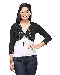 Cappadocia Women's Slim Fit Shrug (Cap00007 Black_M, Black, Medium)