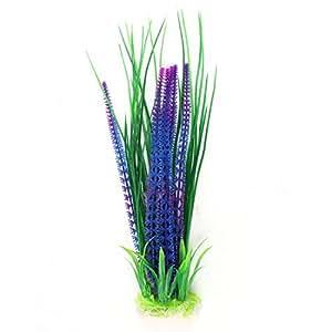Artificial Aquarium Plastic Plant Decoration 15.7High Green Purple