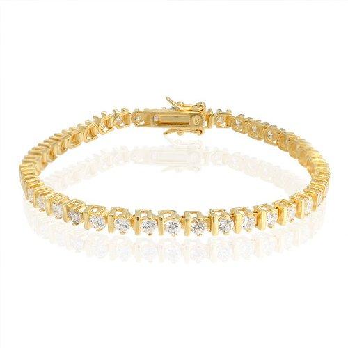 Bling Jewelry Gold Vermeil Cubic Zirconia Bar Setting Tennis Bracelet 925 Silver
