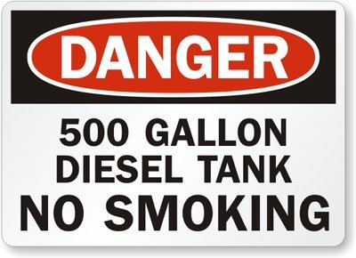 """500 Gallon Diesel Tank No Smoking, Adhesive Signs And Labels, 5 Labels / Pack, 5"""" X 3.5"""""""
