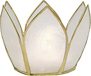 Luna Bazaar Candle Holder (2.25-Inch, White, Capiz Lotus Gold-Edged) - For Home Decor and Wedding Decorations - For Use with Tea Light Candles