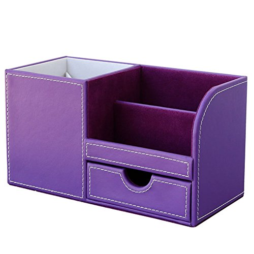 KINGFOM™ Wooden Struction Leather Multi-function Desk Stationery Organizer Storage Box Pen/Pencil ,Cell phone, Business Name Cards Remote Control Holder Colors (Purple-flannel)