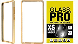 Moblo Bumper Cases Cover Golden & Tempered Glass for Samsung A7