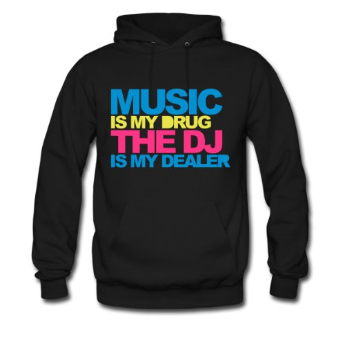 Spreadshirt, Music Is My Drug V4, Men's Hoodie, black, S