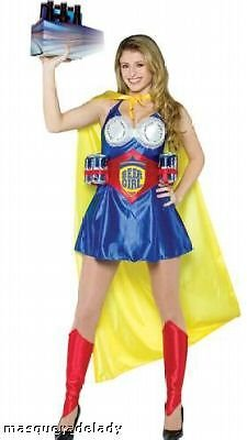 Super Beer Woman Costume Dress Can Belt Cape Adult Women's Std Football Cheer