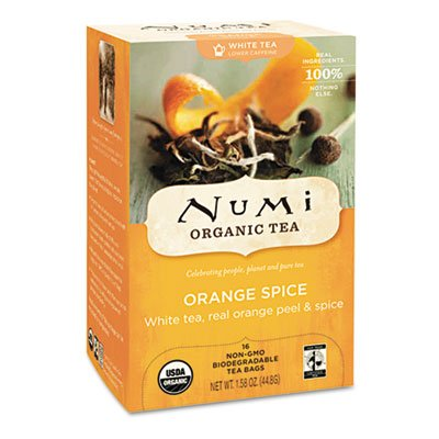 Numi Organic 10240 Organic Teas and Teasans 1 58 oz White Orange Spice 16 Box