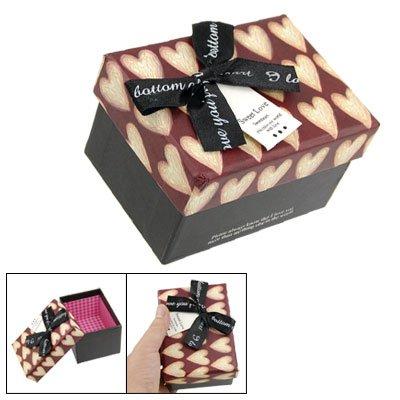 Rosallini Bowknot Decor Rectangular Jewelry Gift Box Maroon Black