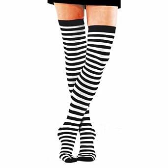 Striped thigh high stockings