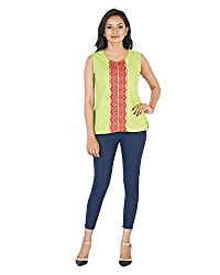Parinita Women's Straight Sleeveless Top(150424_GREEN-M, Green, Medium)
