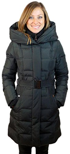 Sophie Madison Women Junior Fit Down Fill Belted Coat with Pillow Hood Black L