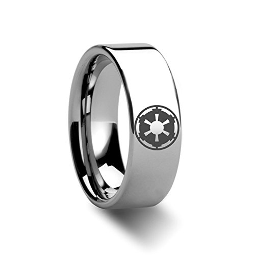 Sith Imperial Emblem Star Wars Polished Tungsten Engraved Ring Jewelery - 8mm