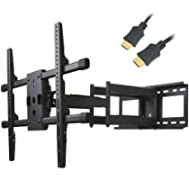 "VideoSecu 25 inch Extension Heavy Duty Dual Arm Articulating TV Wall Mount Bracket for Most 37"" 39"" 40"" 42"" 46"" 47"" 48"" 50"" 52"" 55"" 58"" 60"" 62"" 65"" FLAT Plasma LCD TV 1H8"