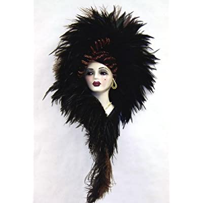 Large feather black brown porcelain face mask collectible wall art