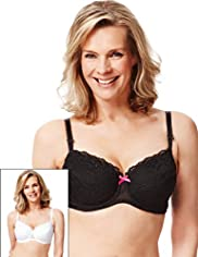 2 Pack Limited Collection Post Surgery Floral Embroidered Non-Padded B-DD Bras