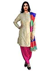 Sancom Women Silk Salwar Suit Sets (Sesfsk28908 _off White _Free Size)