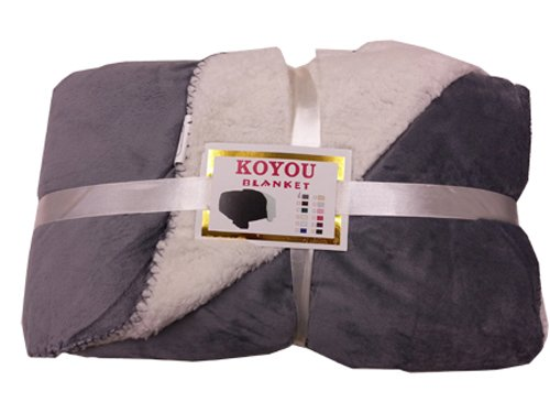 koyou super soft dark gray plush sherpa borrego blanket throw queen or full size bed home garden. Black Bedroom Furniture Sets. Home Design Ideas