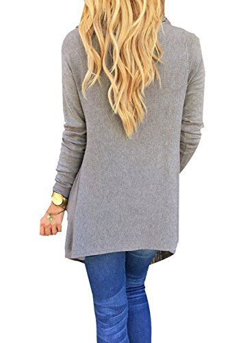 LILBETTER Women's Chic Asymmetric Tasseled Knit T-shirt Sweater Blouse L Gray