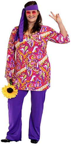 Flower Power-1960s-1970s HIPPY COLOURFUL TUNIC TOP with PURPLE FLARED TROUSERS & HEADBAND Costume - Plus