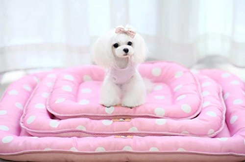 New Summer Cool Oxford Fabric Pink Polka Dot Pet Cat Puppy Dog Bed Sleepping Mat Moistureproof , 3 Sizes for Choice (Small)